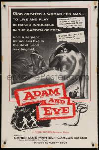 5t018 ADAM & EVE int'l 1sh '58 sexiest art of naked man & woman in the Mexican Garden of Eden!