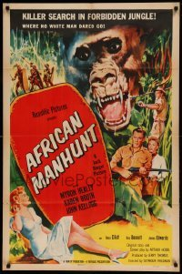 5t022 AFRICAN MANHUNT 1sh '54 in the forbidden jungle where no white man dared go!