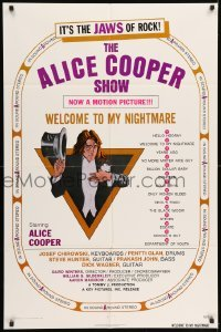 5t026 ALICE COOPER: WELCOME TO MY NIGHTMARE 1sh '75 JAWS of rock, art of Alice Cooper by Struzan!