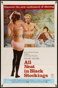 5t029 ALL NEAT IN BLACK STOCKINGS 1sh '69 Susan George, discover the excitement of sharing!