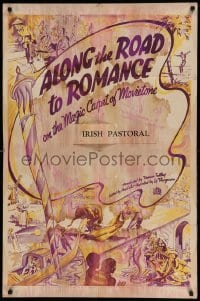 5t033 ALONG THE ROAD TO ROMANCE 1sh '30s on the magic carpet of Movietone, cool travel art!