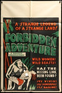 5t321 FORBIDDEN ADVENTURE IN ANGKOR 1sh '37 great art of gorilla holding topless native girl!