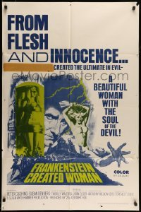 5t329 FRANKENSTEIN CREATED WOMAN 1sh '67 Peter Cushing, Susan Denberg had the soul of the Devil!