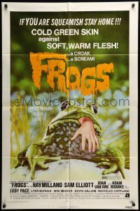 5t333 FROGS 1sh '72 great horror art of man-eating amphibian with human hand hanging from mouth!