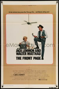 5t334 FRONT PAGE 1sh '75 Lettick art of Jack Lemmon & Walter Matthau, directed by Billy Wilder!
