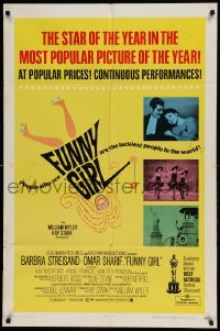 5t335 FUNNY GIRL awards 1sh '69 Barbra Streisand as Fanny Brice in The Queen of the Swans!
