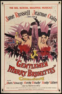 5t341 GENTLEMEN MARRY BRUNETTES 1sh '55 sexy Jane Russell & Jeanne Crain in the big, buxom musical