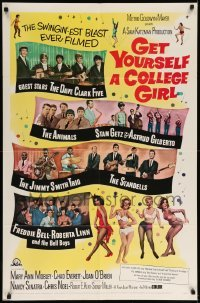 5t343 GET YOURSELF A COLLEGE GIRL 1sh '64 hip-est happiest rock & roll show, Dave Clark 5 & more!