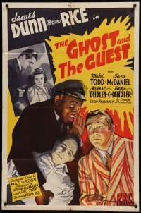 5t344 GHOST & THE GUEST 1sh '43 stone litho art of James Dunn, Florence Rice & Sam McDaniel!