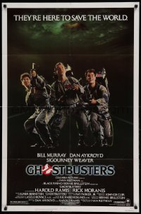 5t346 GHOSTBUSTERS 1sh '84 Bill Murray, Aykroyd & Harold Ramis are here to save the world!