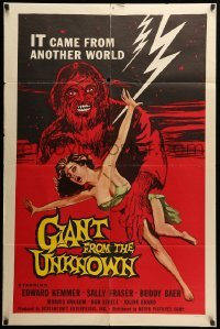 5t347 GIANT FROM THE UNKNOWN 1sh '58 art of wacky monster Buddy Baer grabbing near-naked girl!
