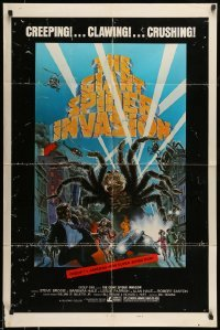 5t348 GIANT SPIDER INVASION style B 1sh '75 art of really big bug terrorizing city by Brunner!