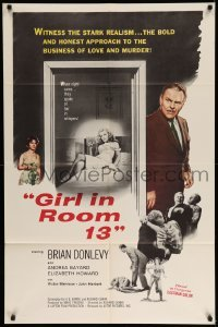 5t350 GIRL IN ROOM 13 1sh '60 Brian Donlevy, Andrea Baynard, the stark realism of love and murder!