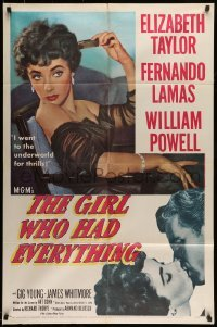 5t351 GIRL WHO HAD EVERYTHING 1sh '53 sexy Elizabeth Taylor goes to the underworld for thrills!