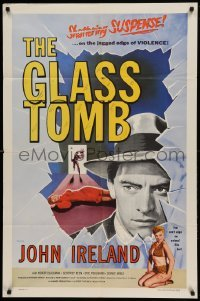 5t352 GLASS TOMB 1sh '55 Honor Blackman is an animal on the jagged edge of violence!