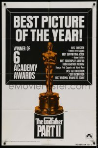 5t355 GODFATHER PART II style B int'l 1sh '74 Francis Ford Coppola, Best Picture, Oscar statuette!