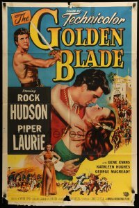 5t359 GOLDEN BLADE 1sh '53 close-up art of Rock Hudson & sexy Piper Laurie!