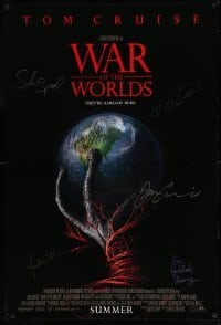 5y259 WAR OF THE WORLDS signed advance 1sh '05 by Tom Cruise, Steven Spielberg, plus FOUR more!