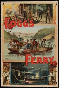 6b037 FOGG'S FERRY linen 28x42 stage poster 1893 montage art with ferry boat & woman shooting!