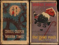 6d002 LOT OF 2 27X42 CHARLIE CHAPLIN ONE-SHEETS R59 Modern Times & The Gold Rush!