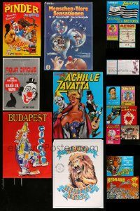 6d439 LOT OF 17 MOSTLY FORMERLY FOLDED NON-U.S. CIRCUS POSTERS '80s-90s art of clowns & animals!