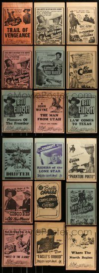 6d217 LOT OF 18 LOCAL THEATER WESTERN HERALDS '40s-50s great images from cowboy movies!