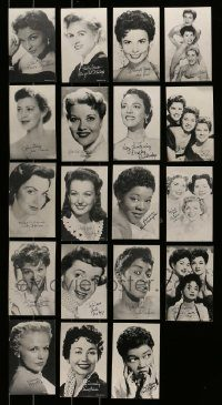 6d355 LOT OF 19 1950S PENNY ARCADE CARDS OF FEMALE SINGERS '50s great portrait of top stars!