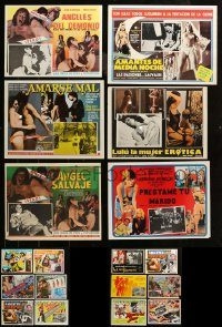 6d017 LOT OF 18 SEXPLOITATION MEXICAN LOBBY CARDS '60s-70s sexy images with some nudity!