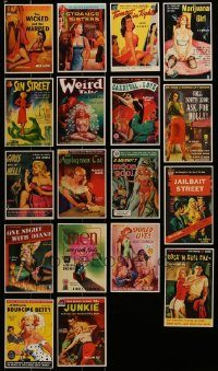 6d367 LOT OF 18 SEXY VINTAGE PAPERBACK AND PULP COVER POSTCARDS '95 great art of half-clad women!