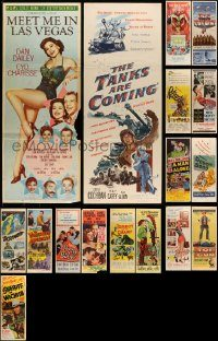 6d445 LOT OF 17 FORMERLY FOLDED INSERTS '50s-60s great images from a variety of different movies!