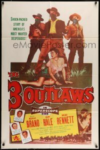 6f015 3 OUTLAWS 1sh '56 Neville Brand & Alan Hale Jr, America's most wanted desperados!