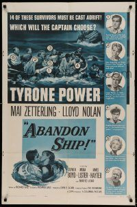 6f019 ABANDON SHIP 1sh '57 Tyrone Power & 25 survivors in a lifeboat which can hold only 12!
