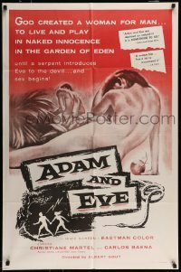 6f022 ADAM & EVE 1sh '58 sexiest art of naked man & woman in the Mexican Garden of Eden!