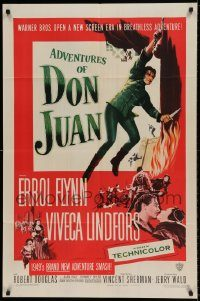 6f025 ADVENTURES OF DON JUAN 1sh '49 Errol Flynn made history when he made love to Viveca Lindfors