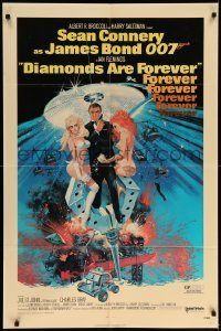 6f004 DIAMONDS ARE FOREVER 1sh '71 art of Sean Connery as James Bond 007 by Robert McGinnis!