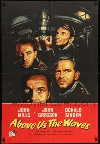 6f021 ABOVE US THE WAVES English 1sh '56 John Mills & English WWII sailors at periscope in sub!