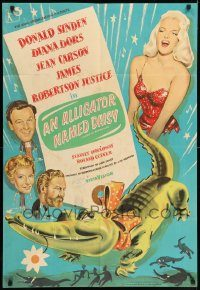 6f034 ALLIGATOR NAMED DAISY English 1sh '57 artwork of sexy Diana Dors in skimpy outfit!