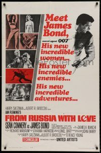 6f003 FROM RUSSIA WITH LOVE style A 1sh '64 Sean Connery is Ian Fleming's James Bond 007!