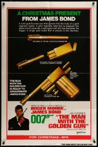 6f005 MAN WITH THE GOLDEN GUN int'l advance 1sh '74 a Christmas present from James Bond, cool!