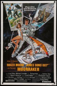 6f007 MOONRAKER style B int'l 1sh '79 art of Moore as James Bond & sexy Lois Chiles by Goozee!