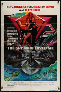 6f006 SPY WHO LOVED ME 1sh '77 cool art of Roger Moore as James Bond by Bob Peak!