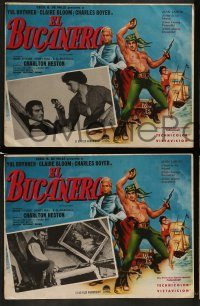 6g073 BUCCANEER 5 Mexican LCs '58 Yul Brynner, Charlton Heston, directed by Anthony Quinn!