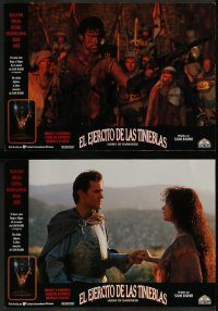 6g044 ARMY OF DARKNESS 10 Spanish LCs '93 Sam Raimi candid, Bruce Campbell, wacky cult classic!