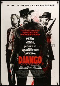 6j064 DJANGO UNCHAINED Canadian 1sh '12 Jamie Foxx, Christoph Waltz, and DiCaprio, French design!