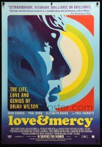 6j075 LOVE & MERCY advance Canadian 1sh '15 Cusack as older Brian Wilson, Dano as the younger!