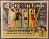 6k004 4 GIRLS IN TOWN style A 1/2sh '56 Julie Adams, Marianne Cook, Elsa Martinelli & Gia Scala!