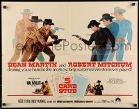 6k005 5 CARD STUD 1/2sh '68 Dean Martin & Robert Mitchum play poker & point guns at each other!