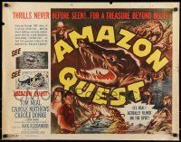 6k014 AMAZON QUEST 1/2sh '49 great artwork images of Tom Neal in a frightening jungle manhunt!