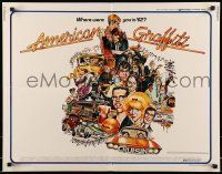 6k015 AMERICAN GRAFFITI 1/2sh '73 George Lucas teen classic, wacky Mort Drucker artwork of cast!