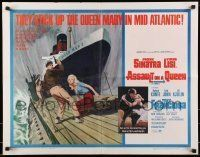 6k027 ASSAULT ON A QUEEN 1/2sh '66 art of Frank Sinatra w/pistol & sexy Virna Lisi on submarine!